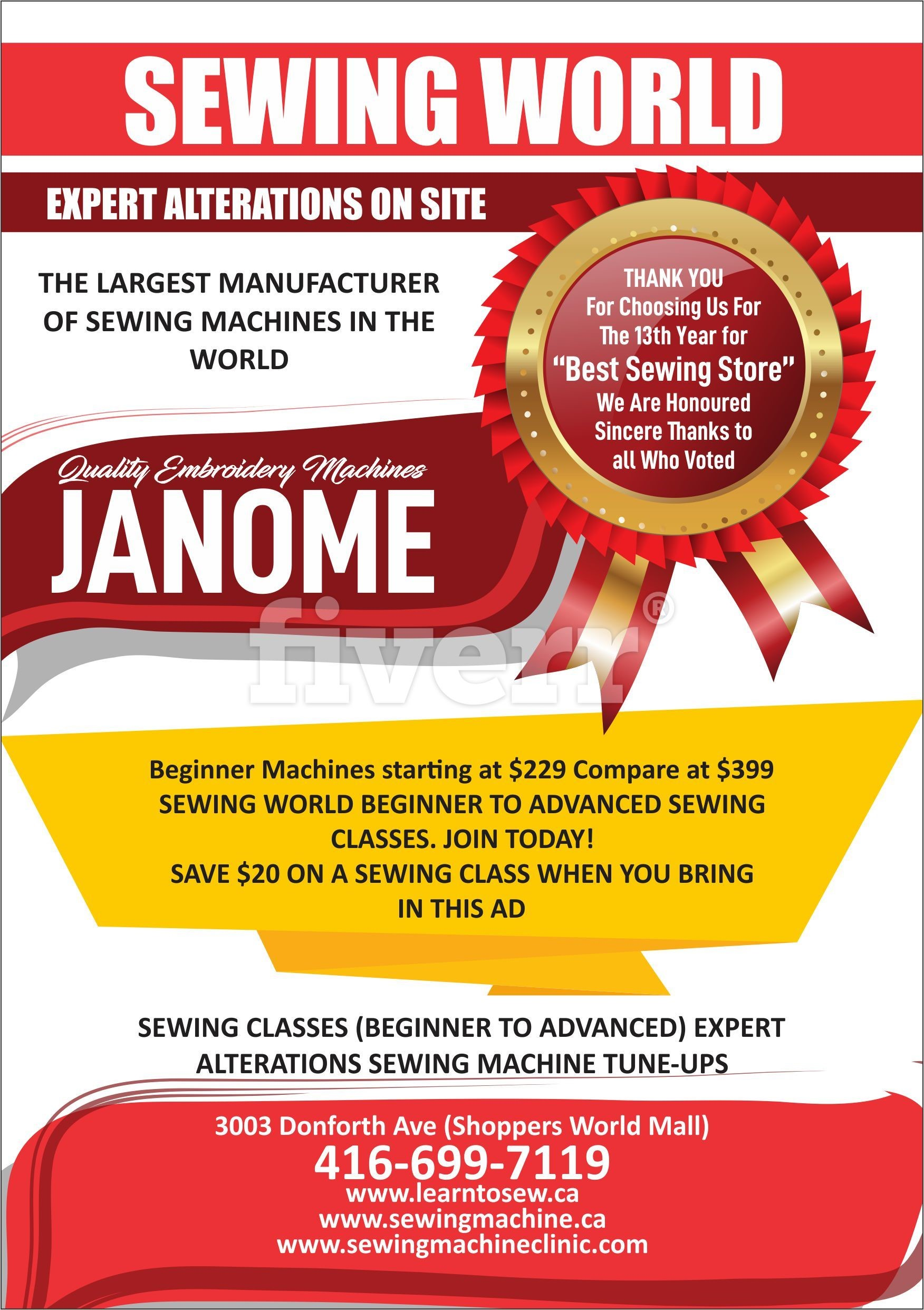 Janome Sewing Machines Toronto | Sewing Centre | Sewing World